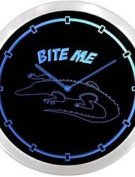 nc0973 Alligator Gator Décor enseigne au néon Horloge murale LED