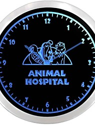 nc0975 Animal Hospital Veterinarian Neon Sign LED Wall Clock