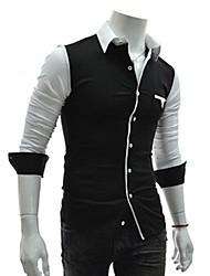 Ruhm Hemd Kragen Langarm Splicing Farbe Casual Shirt