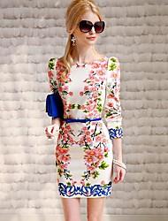 Poupée rose romantique Motif floral robe col rond manches longues