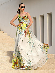 Formal Evening Dress - Elegant / Floral A-line Straps Floor-length Chiffon with Criss Cross