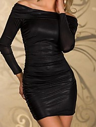 Women's Off Shoulder Mini Dress , Lace/Cotton Blue/Red/Black/Purple/Gray Party/Bodycon