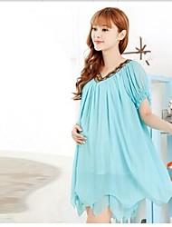 Plus Size Maternity Beading V Neck Waves Hem Pleated Chiffon Dress Loose Pregnancy Wear