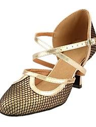 Customized Woman's Pu Gold Latin Dance Shoes