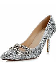 Bombas de cuero de las mujeres de la boda del talón de estilete del dedo del pie en punta Zapatos