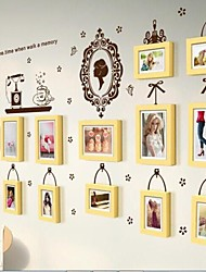 Wooden Photo Frame Set of 13 with Wall Sticker