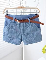 Vrouwen Lace Embroidery Stitching Slim Casual Korte broek met riem