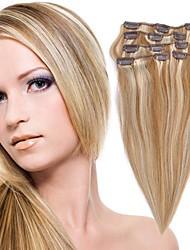 7PCS 20 pouces de cheveux humains pièces en 1 set (couleurs assorties)