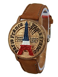 Unisex Tower Pattern Stamp Style Cover Leather Band Quartz Wrist Watch (Assorted Colors)