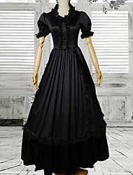 Black Short Sleeves Satin Gothic Victorian Dress