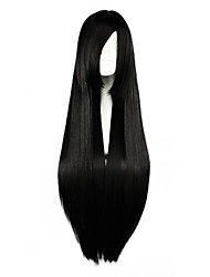 80cm Long Straight Black Cosplay Costume Wig Side Band