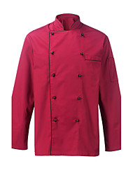 Restaurant Uniforms Burgundy Long Sleeve Chef Coats with Double-Breasted Buttons
