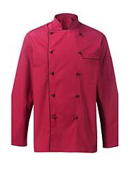 ресторанах униформа бордовый длинный рукав повара пальто с двубортные кнопок