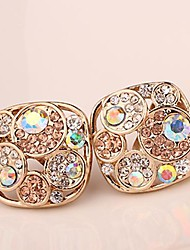 Pretty  Jewelry  Champagne Color Gold-plated  Four Big Set  Auger  Stud Earrings /Ear Clip  for Women