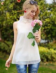 Women's Solid/Lace White Shirt , Stand Sleeveless Ruffle/Lace