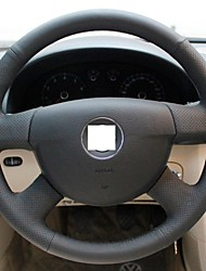XuJi ™ Black Genuine Leather Steering Wheel Cover for Volkswagen Passat B6