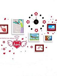 Brown White Mixed Color Photo Frame Collection Set of 6  with Red  Love Wall Sticker & DIY Wall Clock