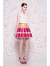 JiaSiMing Set: Round Kragen Diamanten ärmel Tops & bunte Streifen-kurze Röcke (Screen Color)