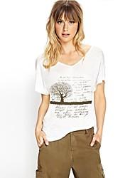 V-Collier Silhouette d'arbre T-shirt imprimé à manches courtes des femmes