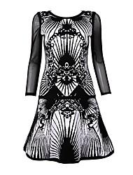 Women's Sexy Dress,Geometric Knee-length Long Sleeve Multi-color Rayon / Spandex All Seasons