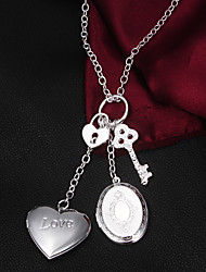 Men's Silver Plated Locket Necklace Could Keep Girlfriend's Photo