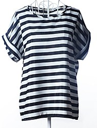 Women's Striped Multi-color T-shirt , Round Neck Short Sleeve