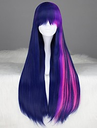 Lolita Wigs Sweet Lolita Lolita Long / Straight Purple / Blue Lolita Wig 80 CM Cosplay Wigs Color Block Wig For Women