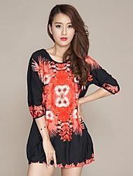 El Patrón Nueva Primavera y verano retro de vestir de manga étnico (Adaptación al azar)