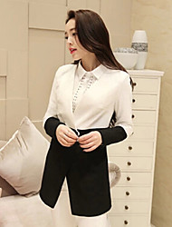 Ruilifang Sweet Lace Long Sleeve Fitted Long Black Suit Jacket