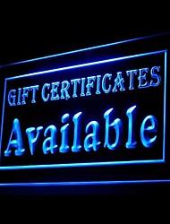 Enseigne lumineuse chèques cadeaux publicitaires disponibles conduit