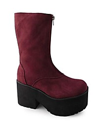 Handmade Wine Red Suede Wedge 9cm Classic & Traditional Lolita Boots