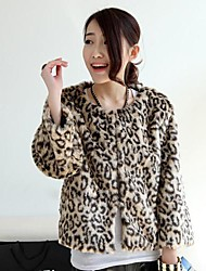 Moda grueso de manga larga sin cuello de la chaqueta de piel falsa
