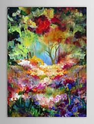 iarts®hand pintura a óleo pintado do cenário da natureza paisagem árvores flores com quadro esticado