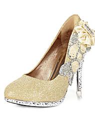 Mujer Zapatos de boda Tacones/Punta Redonda Tacones Boda/Fiesta y Noche Rojo/Oro