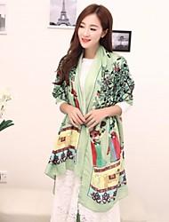 kvinnors ganska kina element tryckt viskos lång scarf