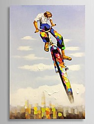 Hand Painted Oil Painting People A Man Riding Bicycle with Stretched Frame