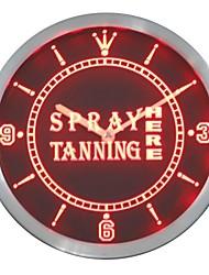 Spray Tanning ouvert ici néon conduit horloge murale