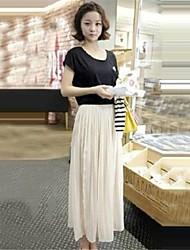 Women's Round Neck Bead Slim Chiffon Dress