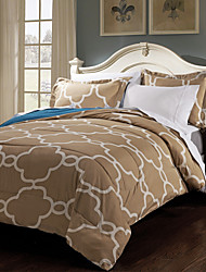 3 Piece - Modern Light Coffee Overlapping Lattice Comforter Set