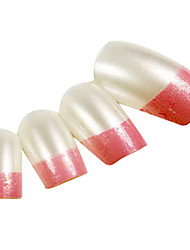 24PCS Pink Fingertip Design Pearl Nail Art French Tips With Glue