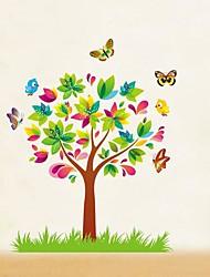 Createforlife ® Papillons de bande dessinée Arbres enfants autocollant de pièce de crèche mur Wall Art Stickers