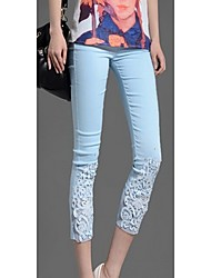 Songyi Women's Lace Diamante Crop Pencil Pants