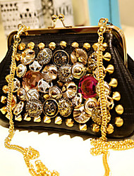 Medanly Women's New Style Korean Badge Button Rivet Mental Chain Crossbody Handbag