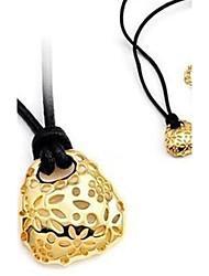 Corde noir collier d'alliage évider Fleurs Petit sac