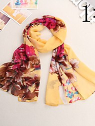 Bully Big Flowers Silk Shawl Sunscreen Chiffon Scarf