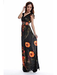 vestito profondo scollo a V stampa floreale maxi seta del ghiaccio più il formato di morefeel®women