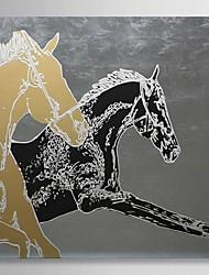 pintados à mão pintura a óleo animais cavalo de corrida com quadro esticado