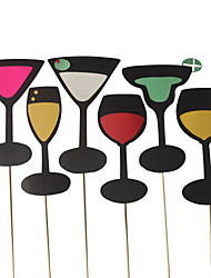 Wedding Décor Wine Glass Photo Booth Props for /Party (6 Pieces)