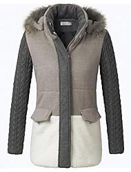 Feminino Feminino Raccoon tricô fio grosso casaco de algodão acolchoado da luva com capuz roupas de algodão acolchoado