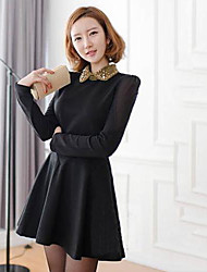 Women's Work Dress,Solid Above Knee Long Sleeve Black Cotton Spring / Fall / Winter